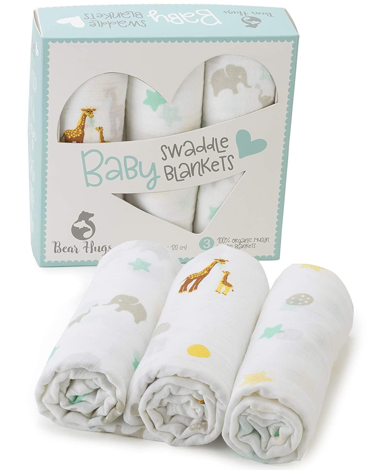 Premium Organic Muslin Swaddle Blankets | 47 x 47 inches ( 3 pack ) | Beautiful Gift Box | Super Soft 100% Muslin Cotton | Great for Boys and Girls - Unisex | Elephant and Giraffe Designs KTSRetail SwaddleBlankets01