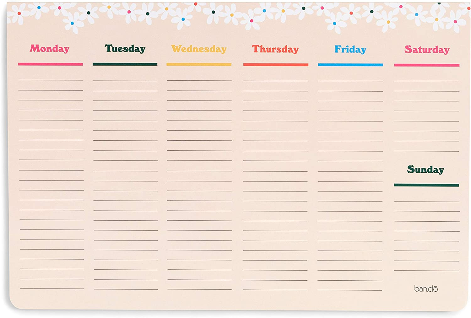ban.do Week-to-Week Desktop Notepad, Desk Calendar with 52 Undated Sheets for 1 Year of Planning, Daisies (Mega)