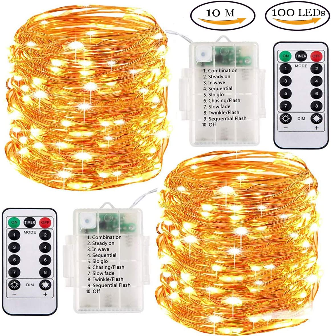 2 Pack Led Fairy Lights Battery Operated String Lights 33ft 100 Leds Waterproof Outdoor Indoor Decorative Rope Strip Lights For Home Garden Bedroom Centerpiece Christmas Wedding Party Warm White Amazon Co Uk Lighting