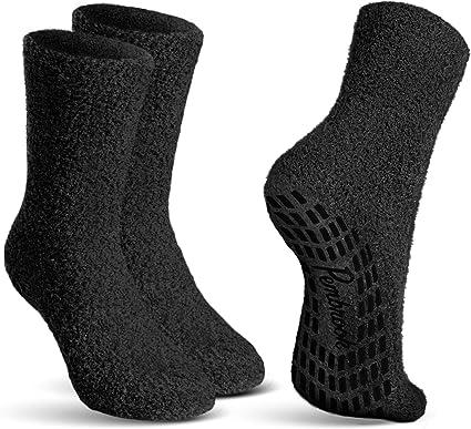 Pembrook Non Skid/Slip Socks – (2 Packs) - Hospital Socks - Fuzzy Slipper Gripper Socks