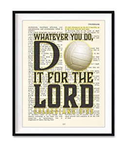 Volleyball, Whatever You Do, Do It For the Lord,Colossians 3:23, Vintage Bible Verse Wall Christian Art Print, Unframed, Girls Room Poster, 8x10 Inches