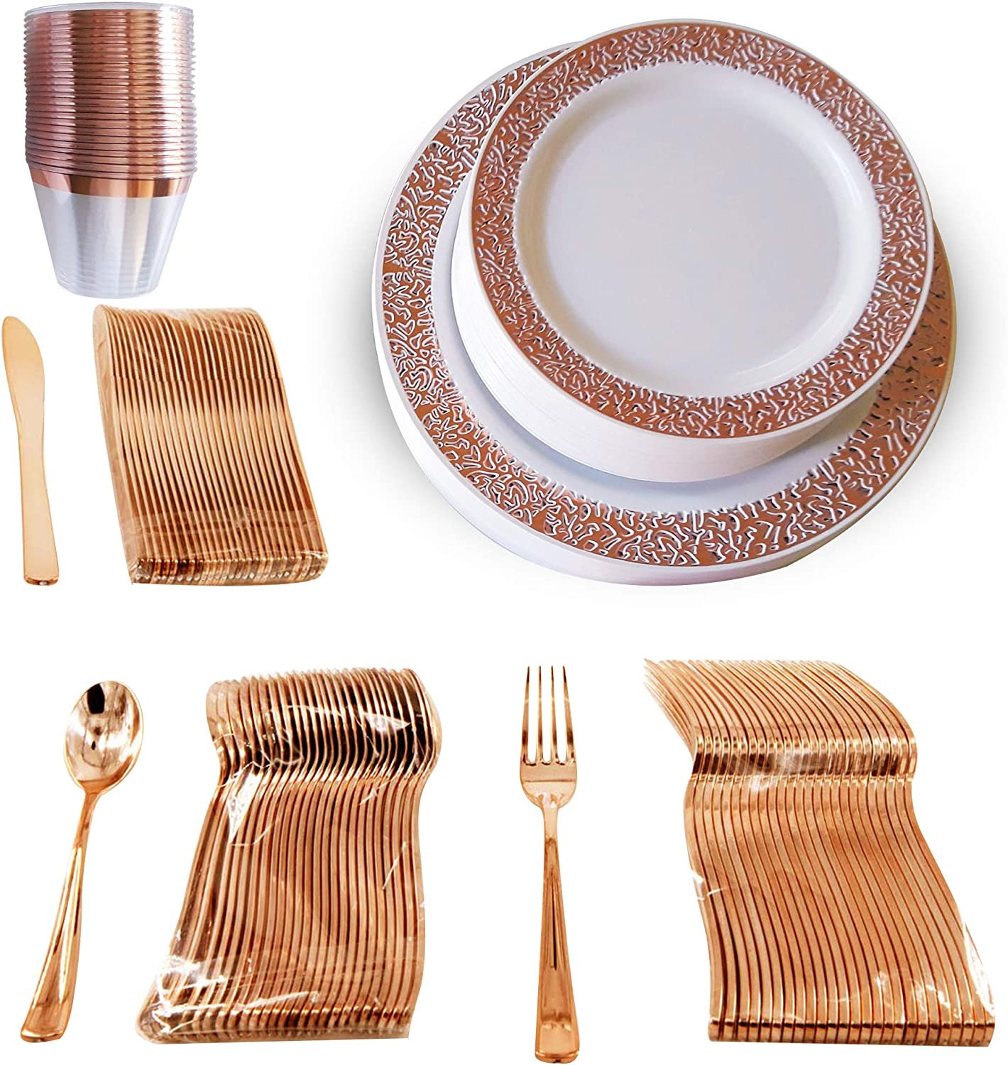 Rose Gold Plastic Plates and Silverware Disposable Wedding//Party Plates 60 pcs