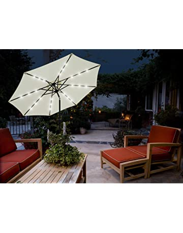 8db60d7ec4a1 GlamHaus Garden Parasol Tilting Table Umbrella, Solar Lights, 2.7m, UV40+  Protection,