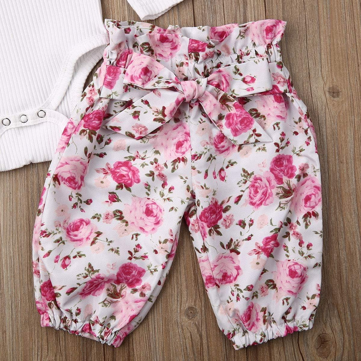 OUlike Set da 3 Pezzi per Bambina Fascia Floreale Pantaloni con Cintura con Balze Tutina a Maniche Lunghe