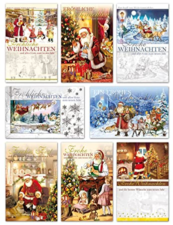 50 Weihnachtskarten Nostalgie Grußkarten Weihnachten Klappkarten mit ...