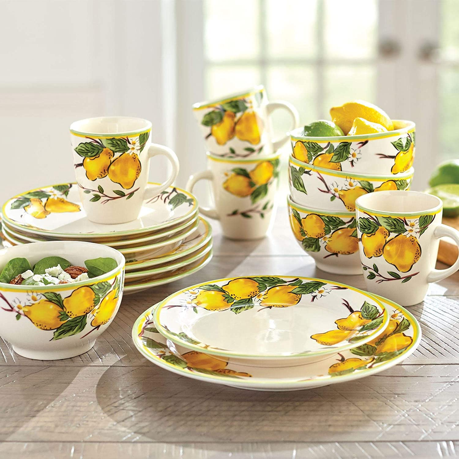 Brylanehome 16-Pc. Lemon Dinnerware Set