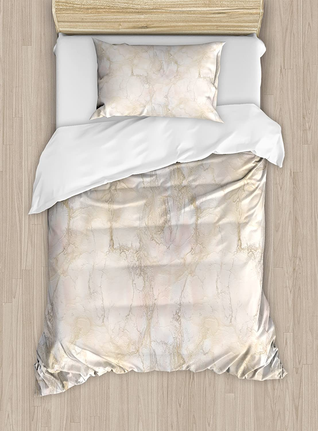 Ambesonne Marble Duvet Cover Set, Pink and Peach Marble Background with Crack Patterns Architecture and Building Material, Decorative 2 Piece Bedding Set with 1 Pillow Sham, Twin Size, Beige Peach
