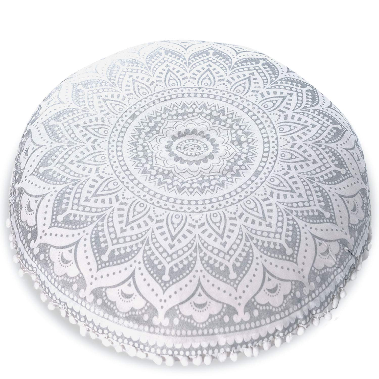 "Mandala Life ART Bohemian Yoga Decor Floor Cushion Cover - 30"" Round Meditation Pillow Case - Pouf Cover - Metallic Silver - Hand Printed - Organic Cotton PoufSilver"