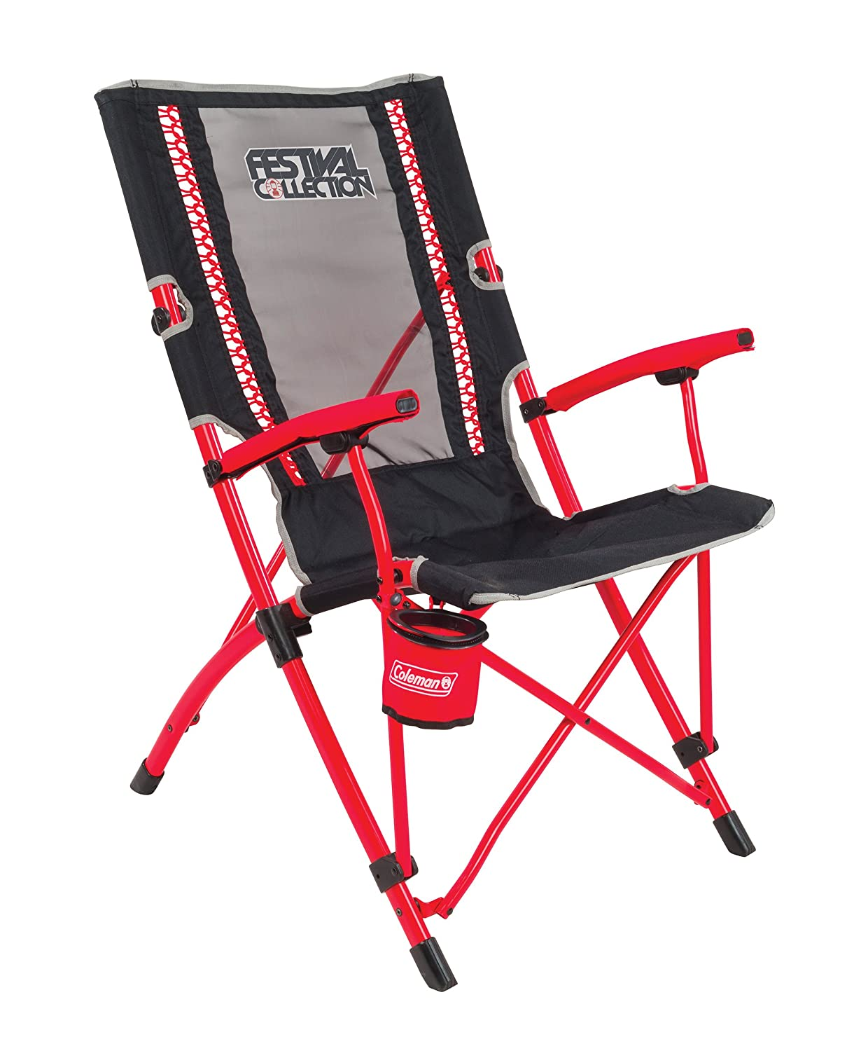Coleman Camping Chair Festival Bungee, lightweight folding chair with comfortabe bungee cords, sturdy steel frame, portable camp chair with cup holder, use for festivals, fishing and garden 2000032320