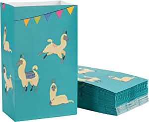 Llama Party Favor Bags - 36-Pack Fiesta Cinco de Mayo Party Supplies, Small Paper Goodie Gift Bags, 5.1 x 8.7 x 3.2 Inches