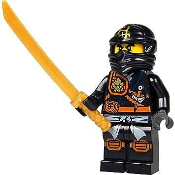 Lego Ninjago Minifigur Cole Schwarzer Ninja Mit Katana Schwert Neuheit 2015
