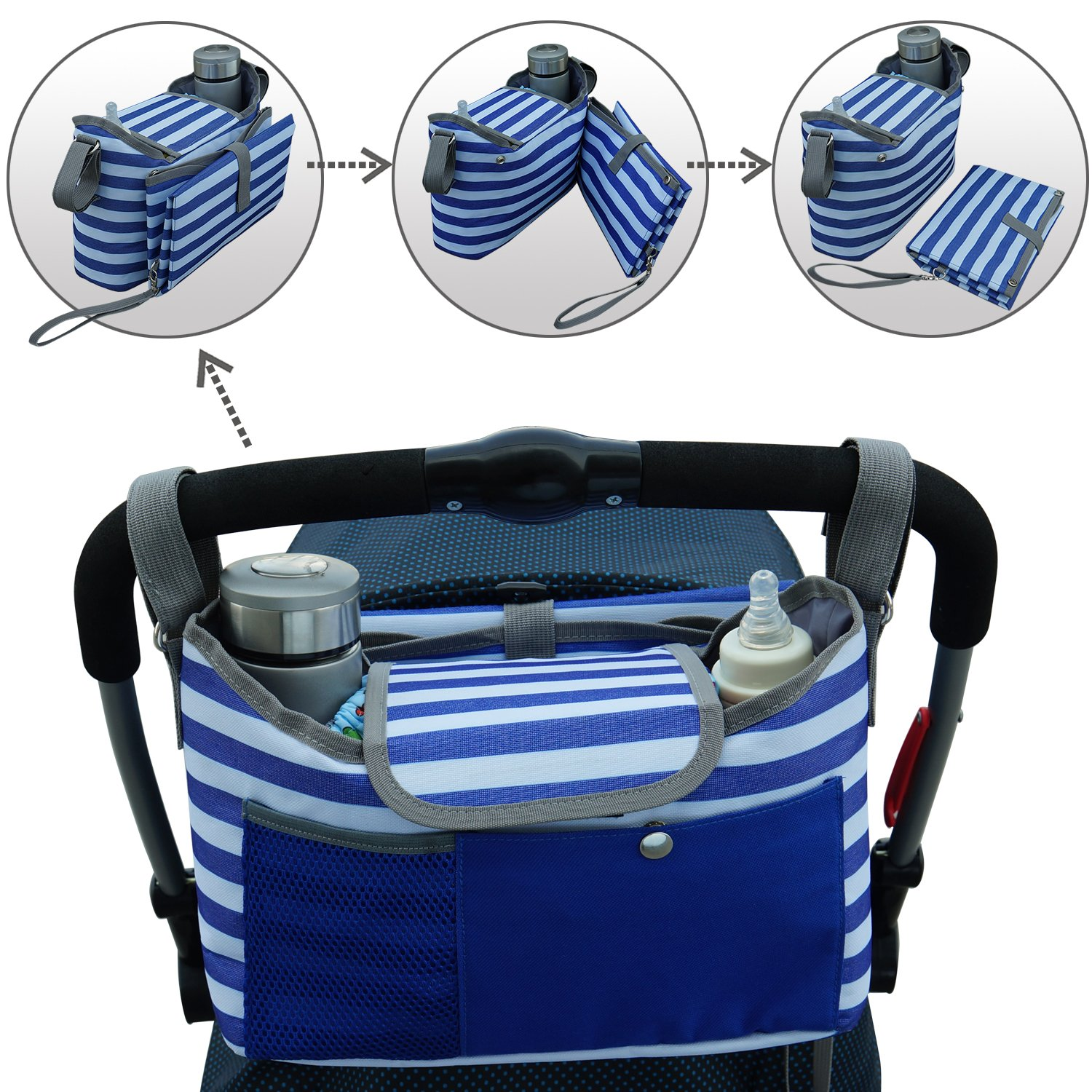 BlueSnail Stroller Organizer with Bonus Changing Pad (Blue), Premium Deep Cup Holders, Extra-Large Storage Space for iPhones, Wallets, Diapers, Books, Toys, iPads