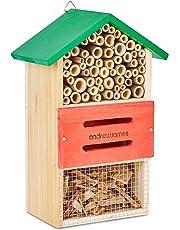Andrew James Hotel à Insectes en Bois, Hotels a Coccinelles, Boite Insecte, Niche a Insecte (Green Wood)