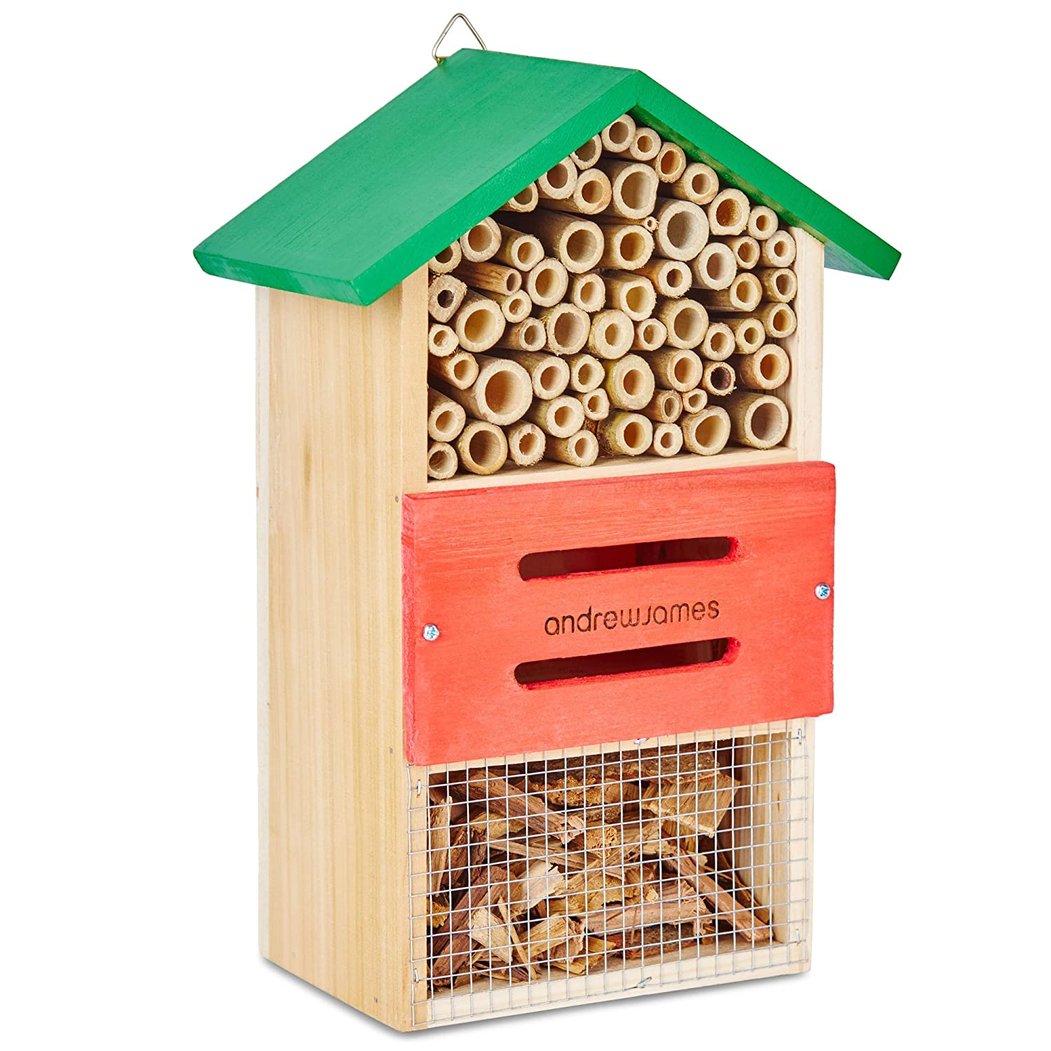 Andrew James Wooden Bug Hotel Insect and Bee House for the Garden to Attract Pollinating Insects like Solitary Bees and Natural Pest Controllers | Weather Resistant 5060415765395