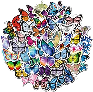 LHST 50Pack Cute Girl Beautiful Butterfly Fairy Stickers Set Random Sticker Decals for Water Bottle Laptop Cellphone Bicycle Motorcycle Car Bumper Luggage Travel Case. Etc (Butterfly)