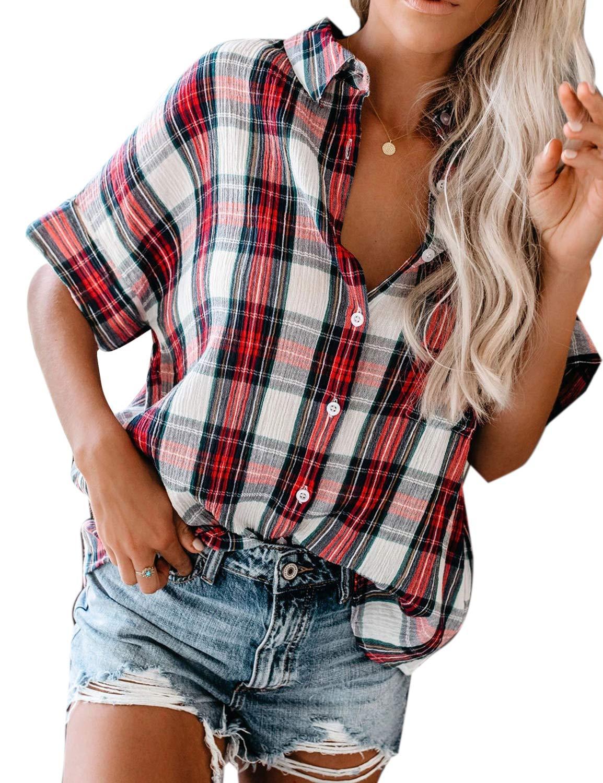 Women's Short Sleeve Plaid Top Button Down Checkered Loose Blouse Shirt