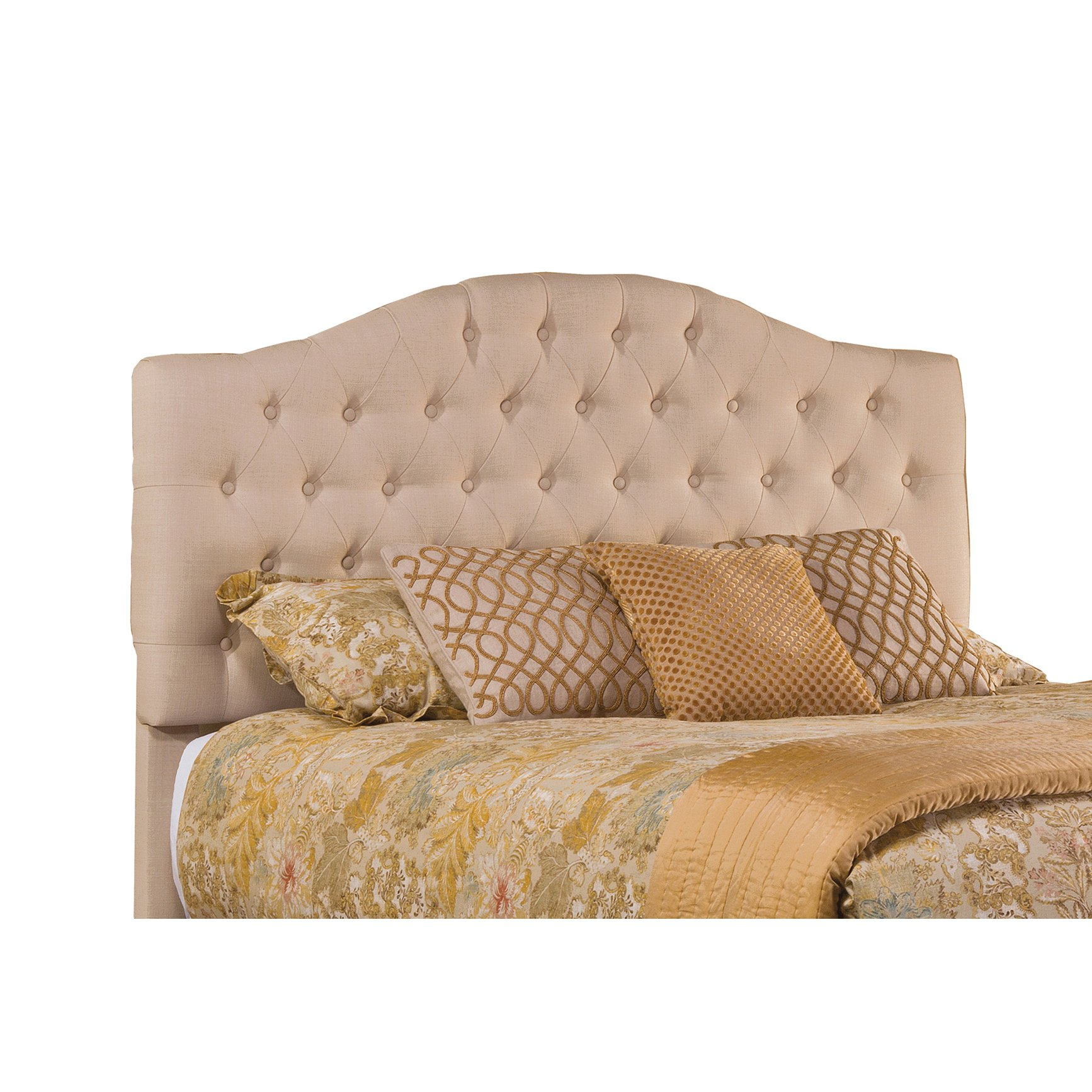 Hillsdale 1125HQR Upholstered Headboard with Frame, Queen, Linen Beige