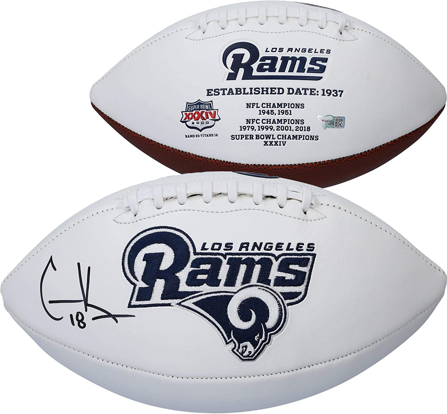 Cooper Kupp Los Angeles Rams Autographed White Panel Football Fanatics Authentic Certified Autographed Footballs