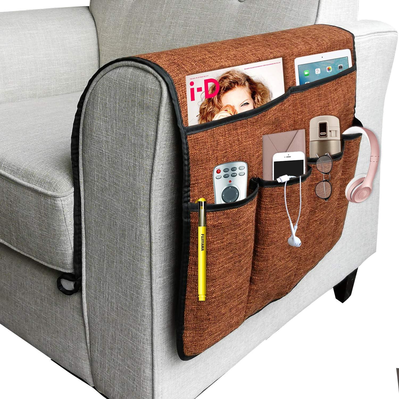 Organizador grande, para sillón o sofá con soporte para mando a distancia de TV, bolsa de almacenamiento, antideslizamiento