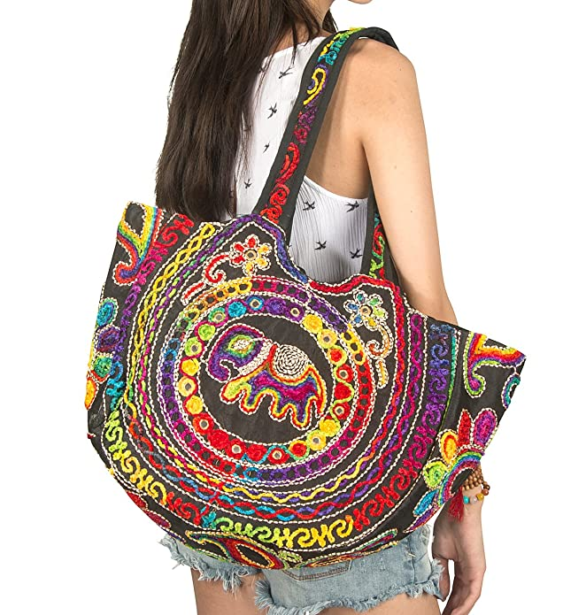 Tribe Azure Colorful Floral Women Boho Fashion Shoulder Tote Bag Large Roomy Comfortable School Books Laptop Market Casual (Red)