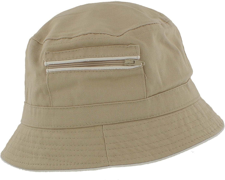 The Hat Company Mens 100/% Cotton Bucket//Bush Sun Hat with Zip Pocket A185
