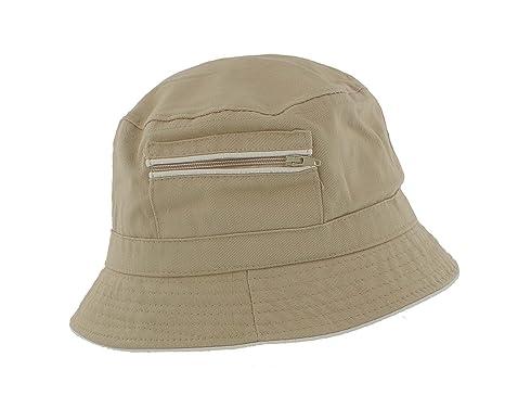 2d909383 The Hat Company Mens 100% Cotton Bucket / Bush Sun Hat with zip pocket  A185: Amazon.co.uk: Clothing
