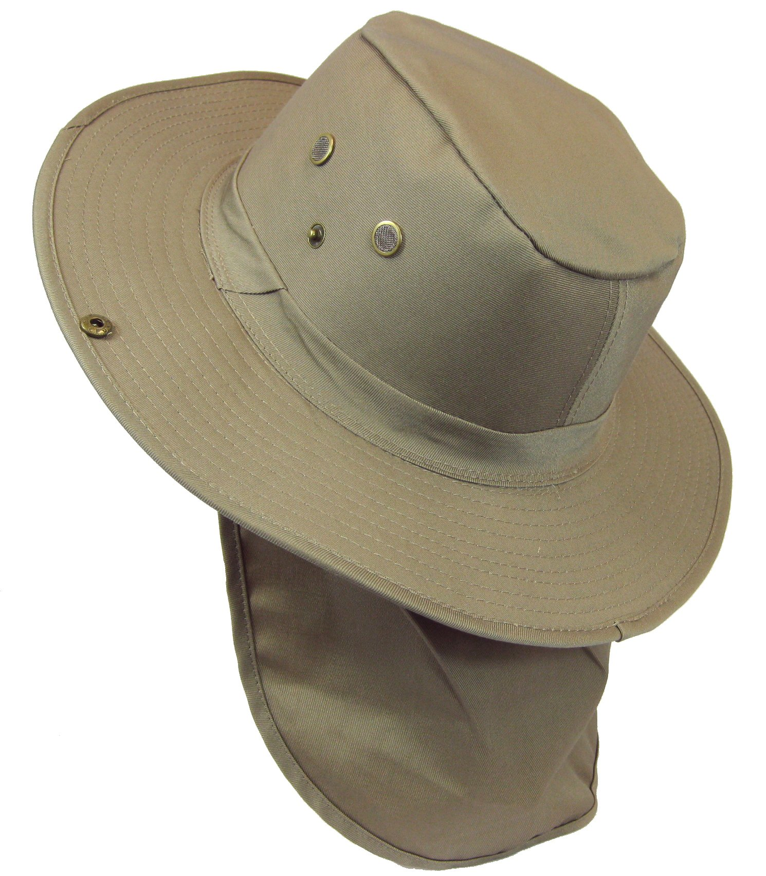 Boonie Bush Safari Outdoor Fishing Hiking Hunting Boating Snap Brim Hat Sun Cap with Neck Flap (Khaki, S) by SW