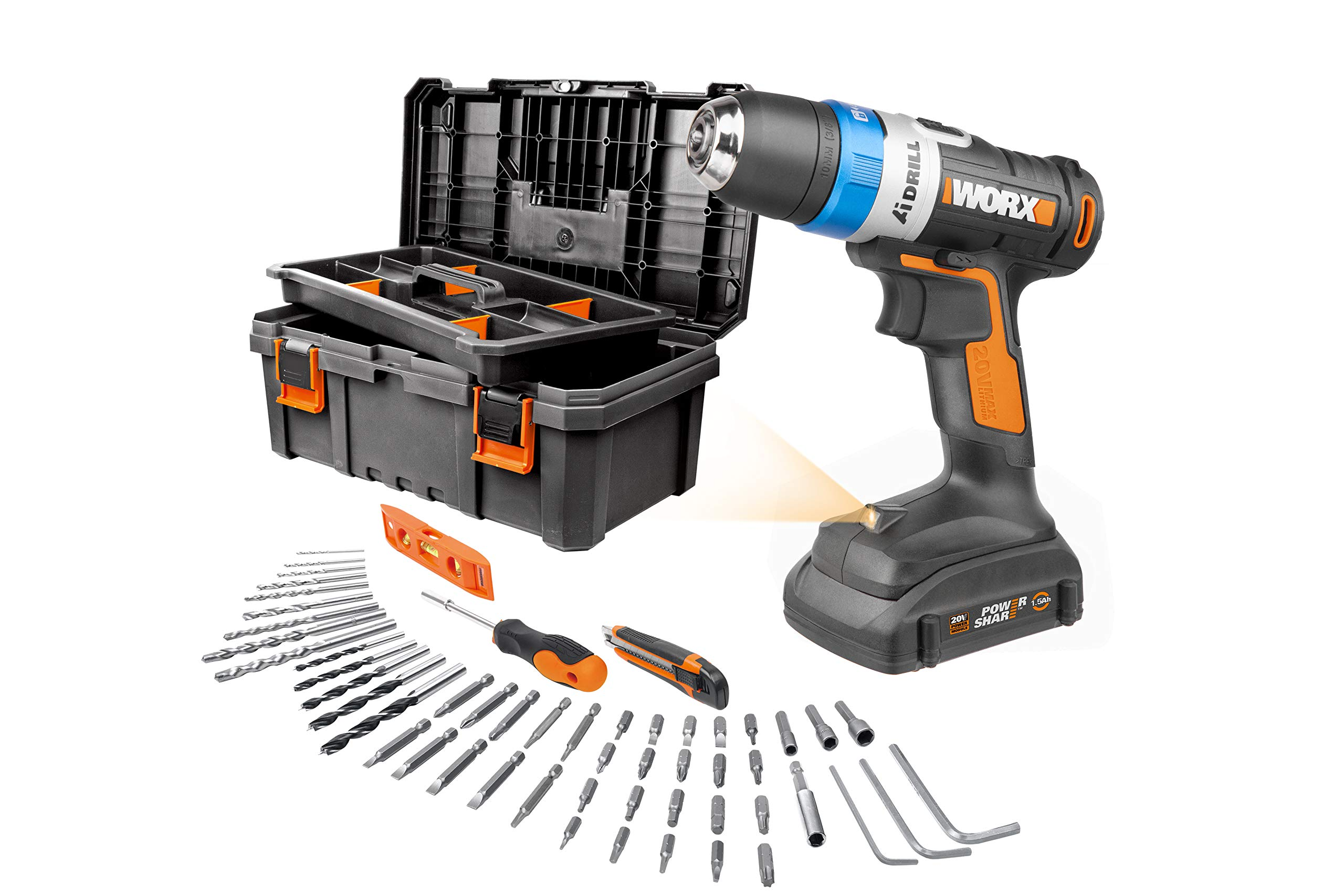 Worx WX178L.3 AI Advanced Intelligence Technology Drill with Accessory Kit and Storage Box
