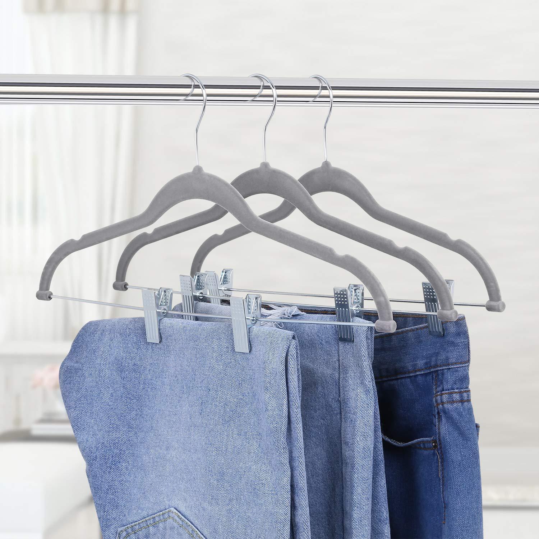 Samt /überzogen Platzsparend Hanger mit Zwei Clip f/ür Kleidung//Anzug//Jacke//Krawatte//Jeans Essentials Kleiderb/ügel Marke: Umi Grey, 20 St/ück