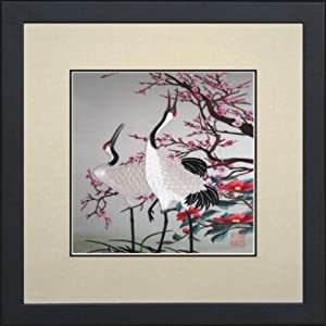 King Silk Art 100% Handmade Embroidery Framed Red Crowned Japanese Cranes & Cherry Blossoms Oriental Wall Hanging Art Asian Decoration Tapestry Artwork Picture Gifts 31074WFB1