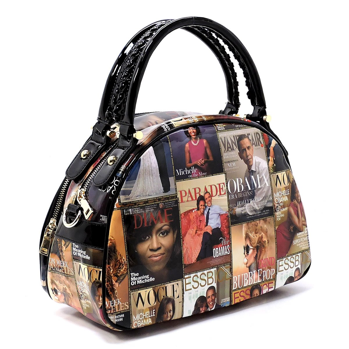 352788d08848 Amazon.com  Glossy Magazine Cover Collage 2-in-1 Dome Satchel   Wallet Set Michelle  Obama Handbag ((1) Multi)  Shoes