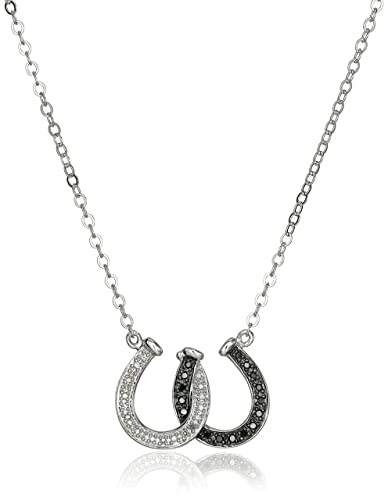 Amazon sterling silver black and white diamond double horseshoe sterling silver black and white diamond double horseshoe pendant necklace 13 cttw mozeypictures Gallery
