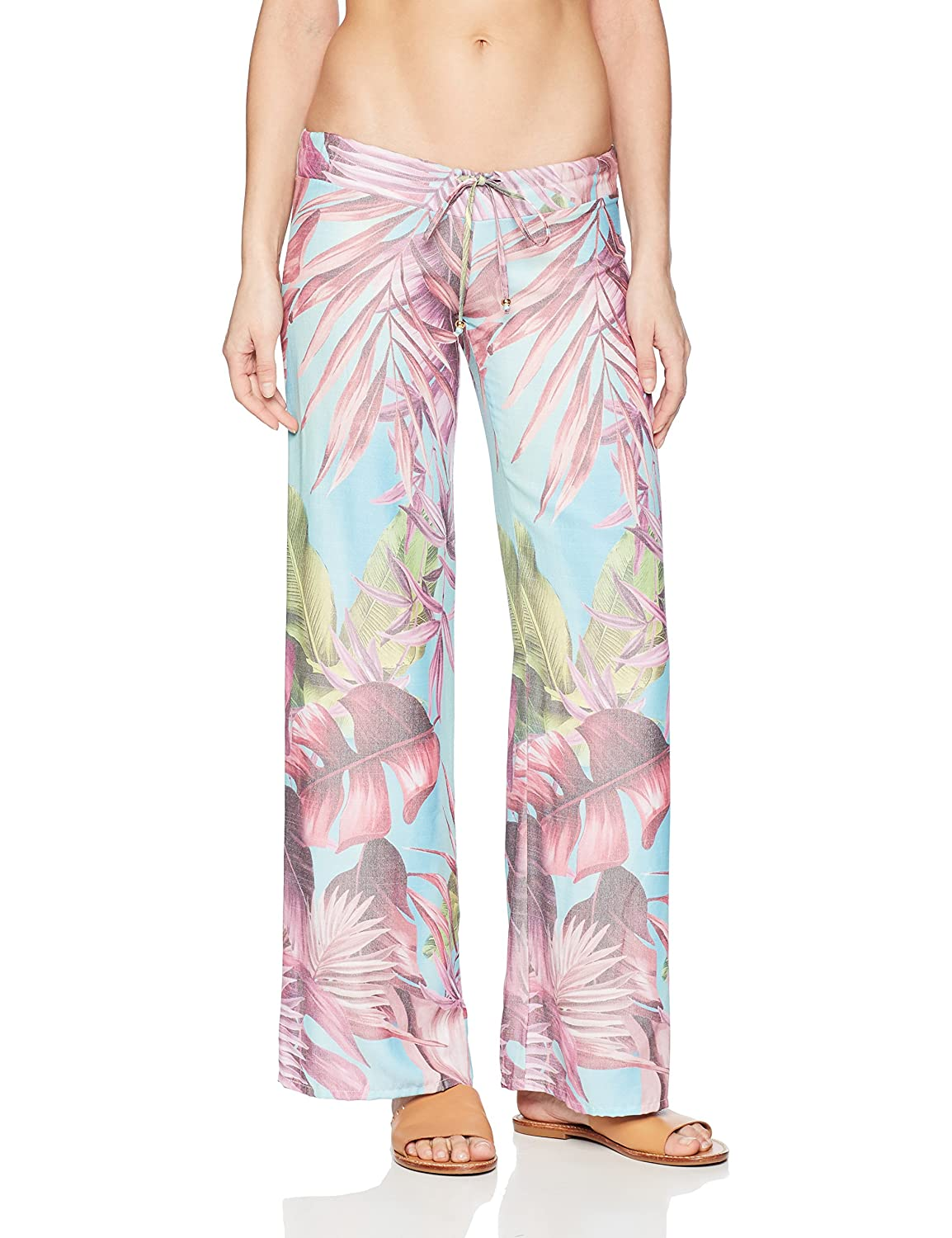 PilyQ Women's Tropical Palm Print Lounge Pant Cover up Swimsuit
