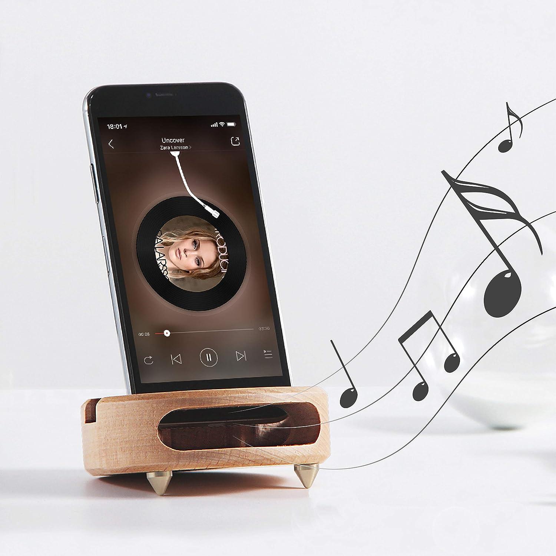 Mate2GO Soporte de Madera para móvil, Soporte Universal para Smartphone en Madera Natural con Amplificador de Volumen para iPhone, Huawei, ...