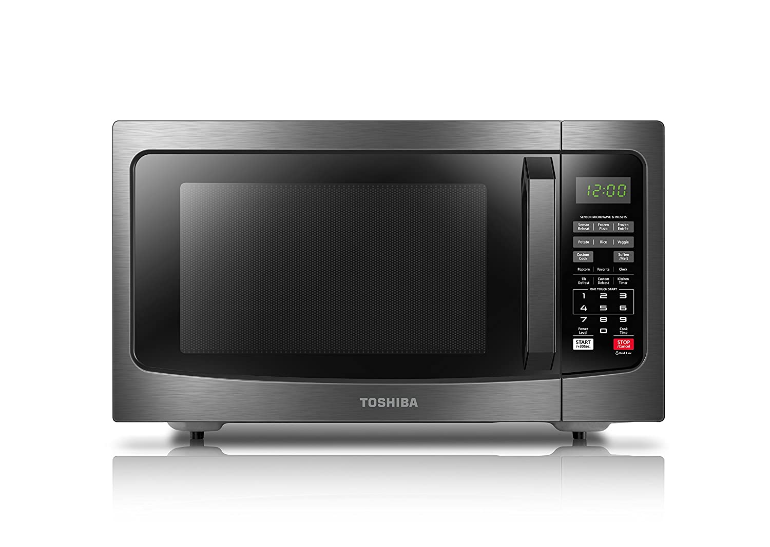 Toshiba EM131A5C-BS Microwave Oven with Smart Sensor, 1.2 Cu.ft, 1100W, Black Stainless Steel