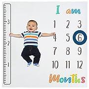 Baby Monthly Milestone Blanket for Newborn, Infant Boy & Girl | Photo Prop Blanket + 2 Frames & Growth Tracker Ruler | Baby Shower Gift Set | X Large Size (47 x47 ) | Premium Bamboo Fabric | Unisex