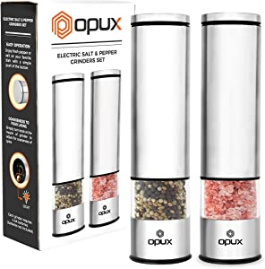 OPUX Battery Operated Salt and Pepper Grinder Set | Electric Pepper Mill, Automatic Salt Grinder with LED Light, Bottom Cover | Brushed Stainless Steel Shakers, Sleek Modern Design (Steel)