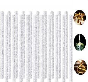Fbaby 20PCS Long Life Fiberglass Replacement Wicks Torch Replacement Wicks 0.5 x 9.85inch Indoor/Outdoor Tiki Torch Wicks for Tiki Torches, Wine Bottle, Patio Lighting, Garden Light