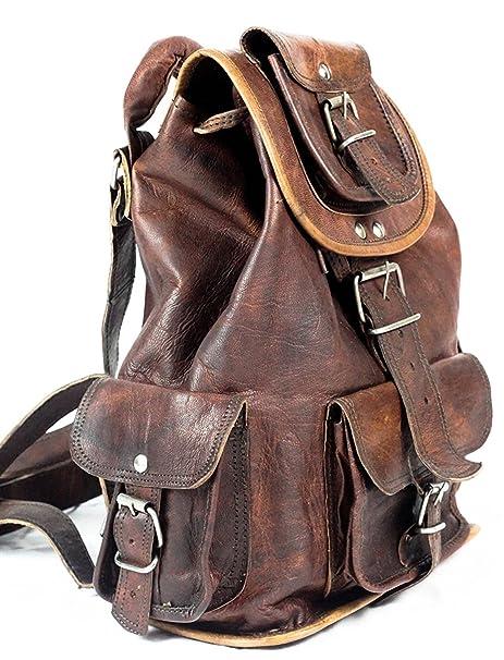 14af2b3f42 Phoenix Craft Casual Real Genuine Leather Backpack Fashion Shoolbag Camping  Bag Shoulder Bag Leather Rucksack …
