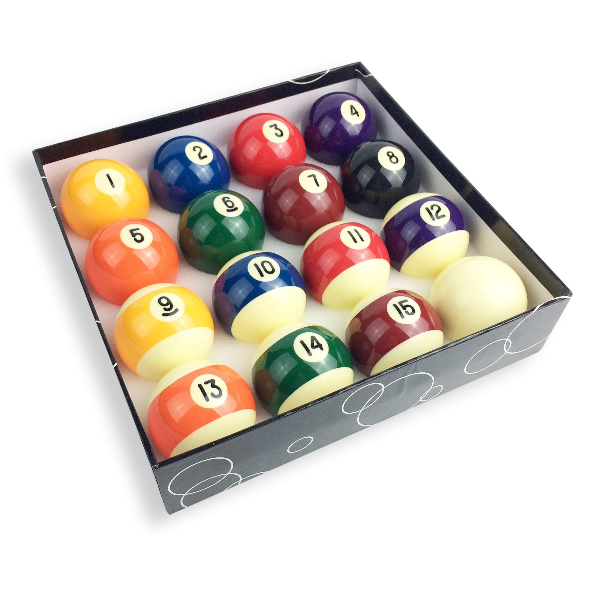 JAPER BEES Premium Standard Billiard Ball/Pool Ball Set,Complete 16balls, 2 1/4 inch Regulation Size&5.9OZ Weight, Resin Ball by JAPER BEES