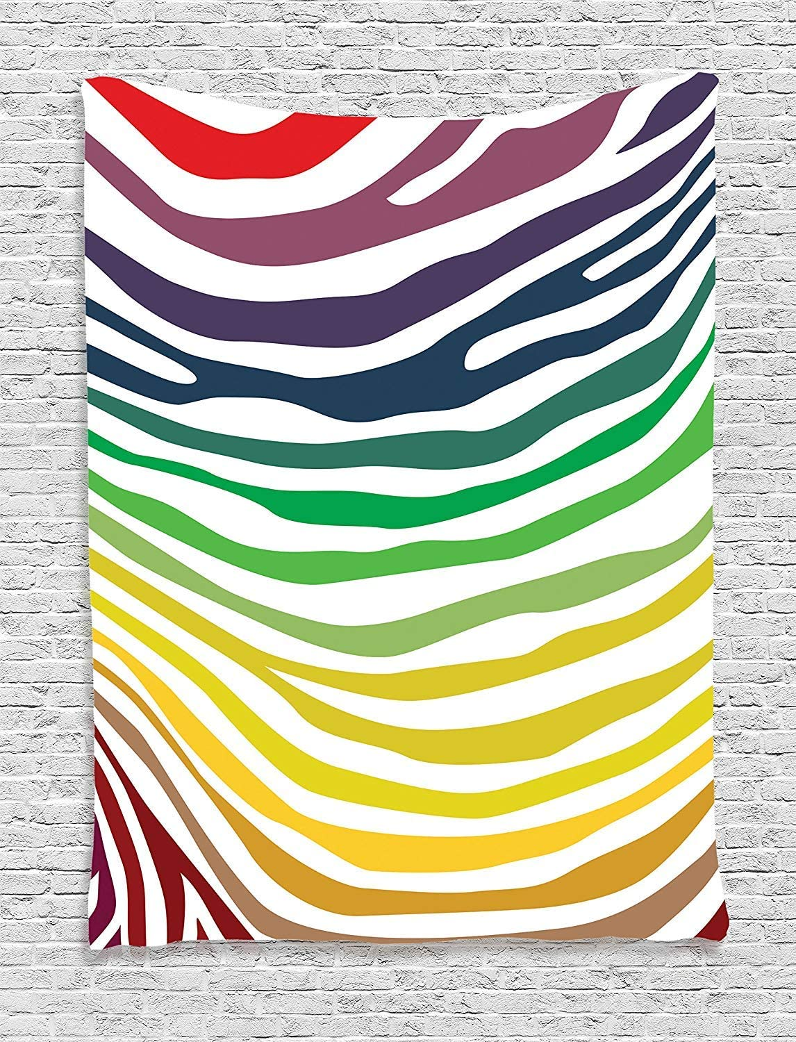 "Ambesonne Zebra Print Tapestry, Zebra Stripes Pattern in Cheering Rainbow Colors in Modern Style Art, Wall Hanging for Bedroom Living Room Dorm Decor, 60"" X 80"", Red Yellow Green"