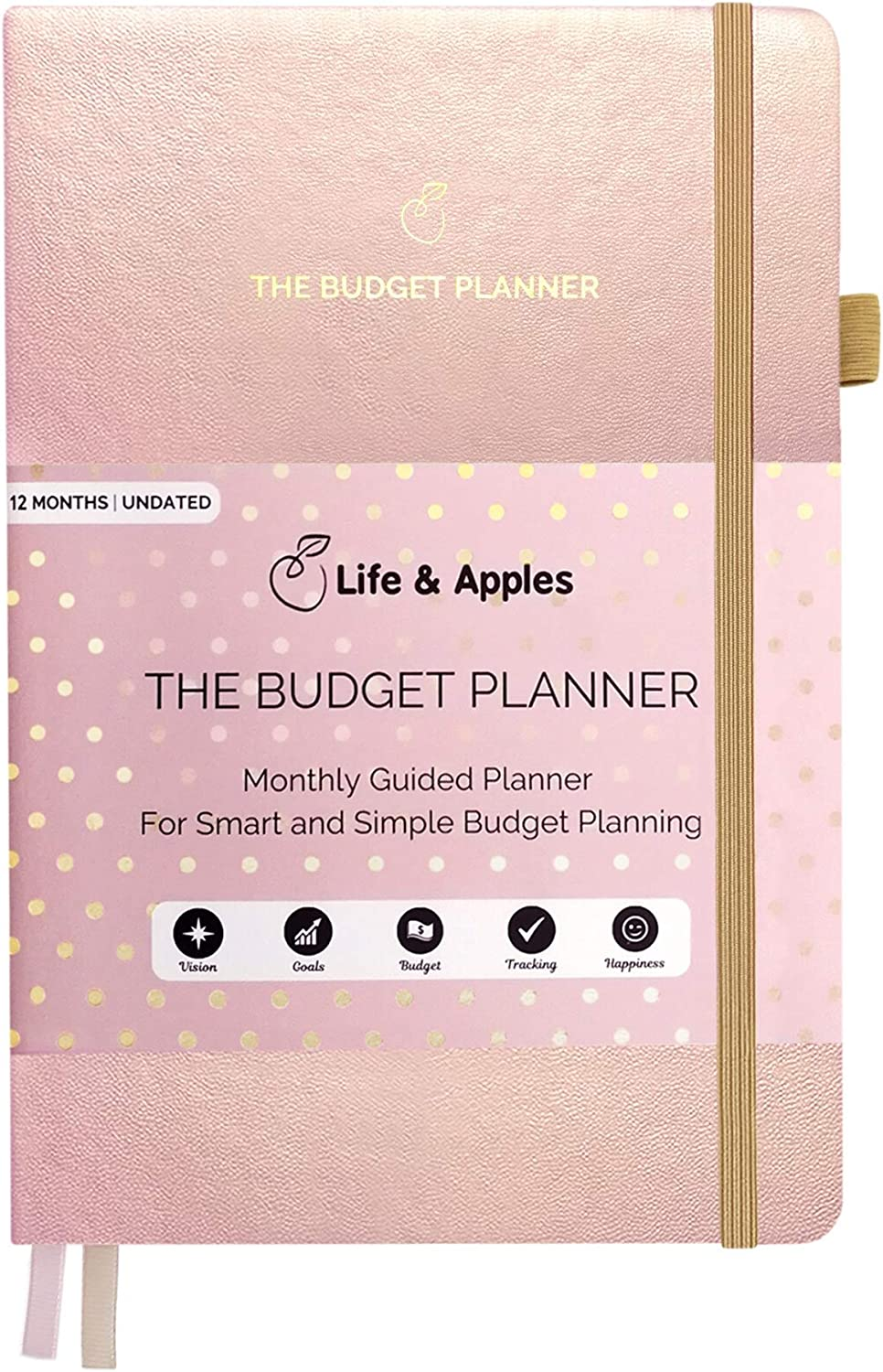 Life & Apples Budget Planner - Monthly Budgeting Notebook for Family and Personal Finance - Expense Tracker Journal, Bill Organizer and Accounts Book - Undated, Rose Gold