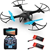 Drone with Camera Live Video – U45W Blue Jay HD Drones for Kids & Adults – Beginner FPV RC Quadcopter w/ Altitude Hold, VR Capability & Extra Battery