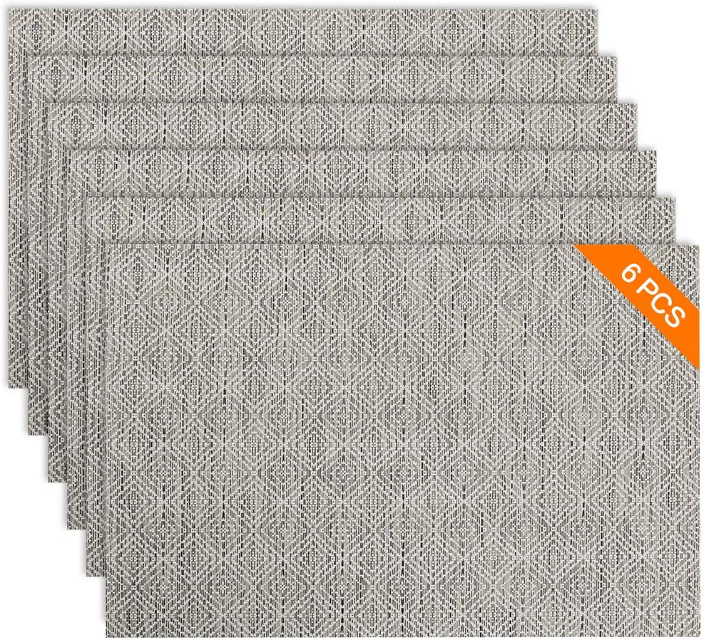 Sayopin Placemat Set of 6 Washable Placemats for Dinner Table Indoor Outdoor Heat Resistant Stain Resistant Crossweave Woven Vinyl Kitchen Table Mats Wipe Clean (Set of 6, 03)