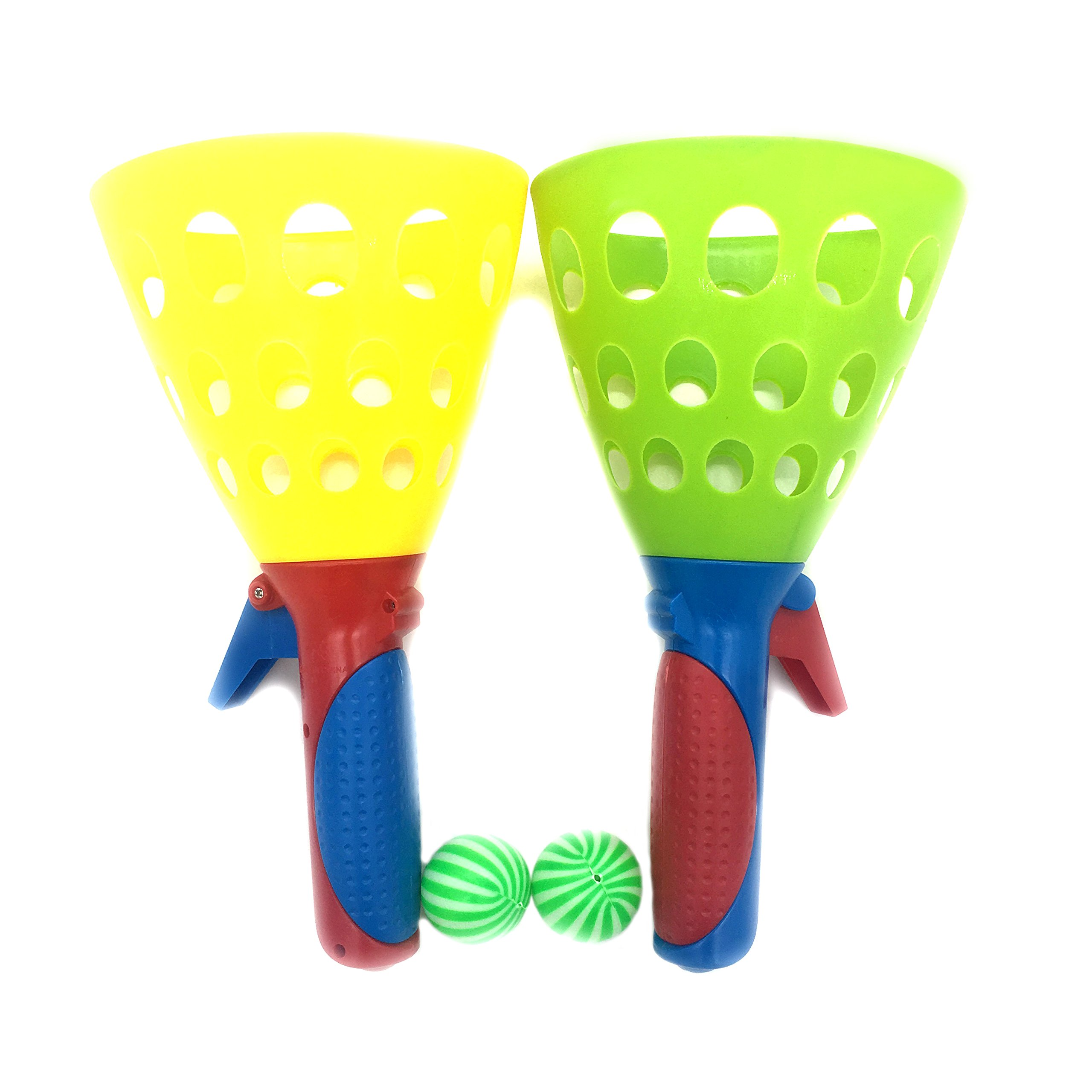 Silfrae Outdoor Launching Catching Ball Game Toy Set for Kids and Adults (Yellow/Green)
