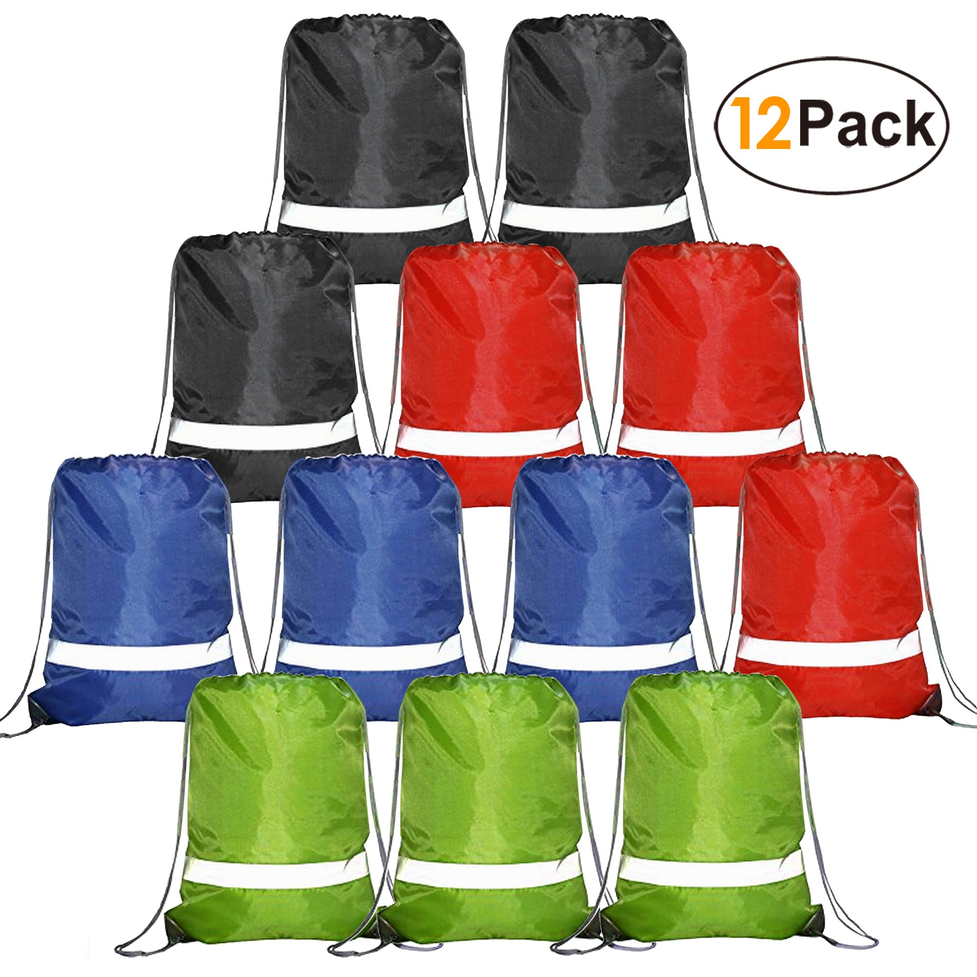 Drawstring Backpack Bags Reflective Bulk Pack, Promotional Sport Gym Sack Cinch Bags (12 Pack Mix Colors)