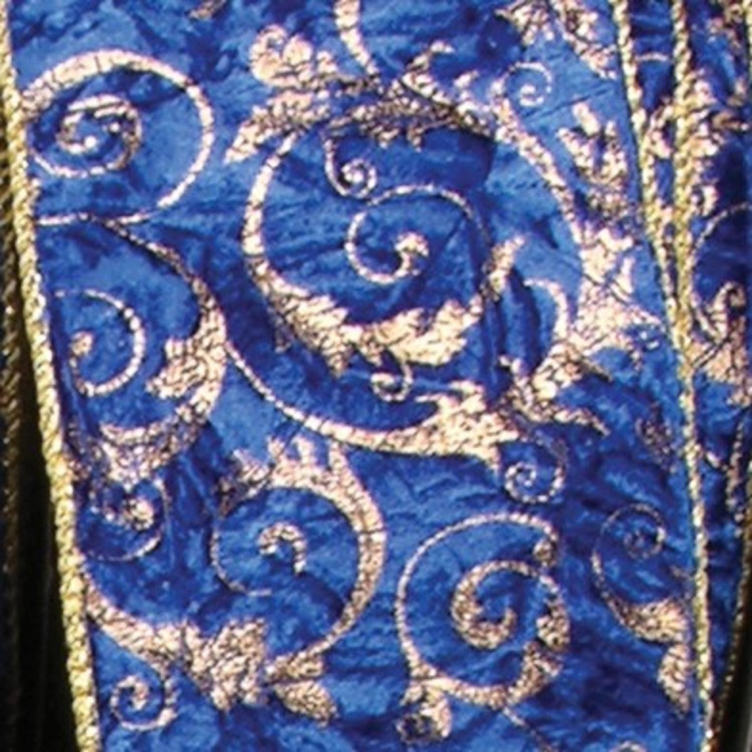 Blue with Gold Cord Edge Wired Fabric Craft Ribbon 4'' x 20 Yards