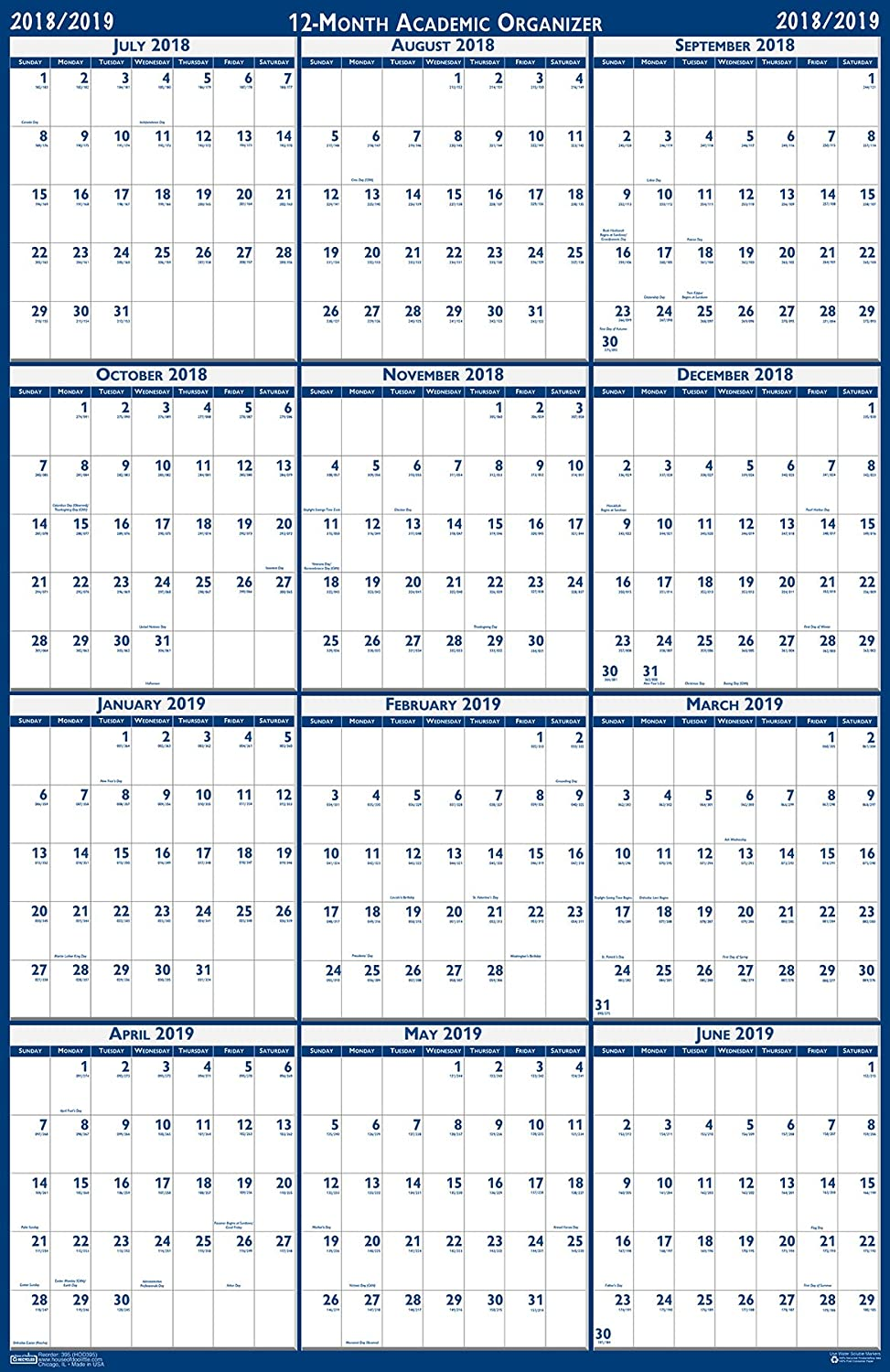 House of Doolittle 2018-2019 Laminated Academic Wall Calendar, Reversible, 24 x 37 Inches, July - June (HOD395 19)