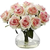 Nearly Natural 1367-LP Rose Arrangement with Vase, Light Pink
