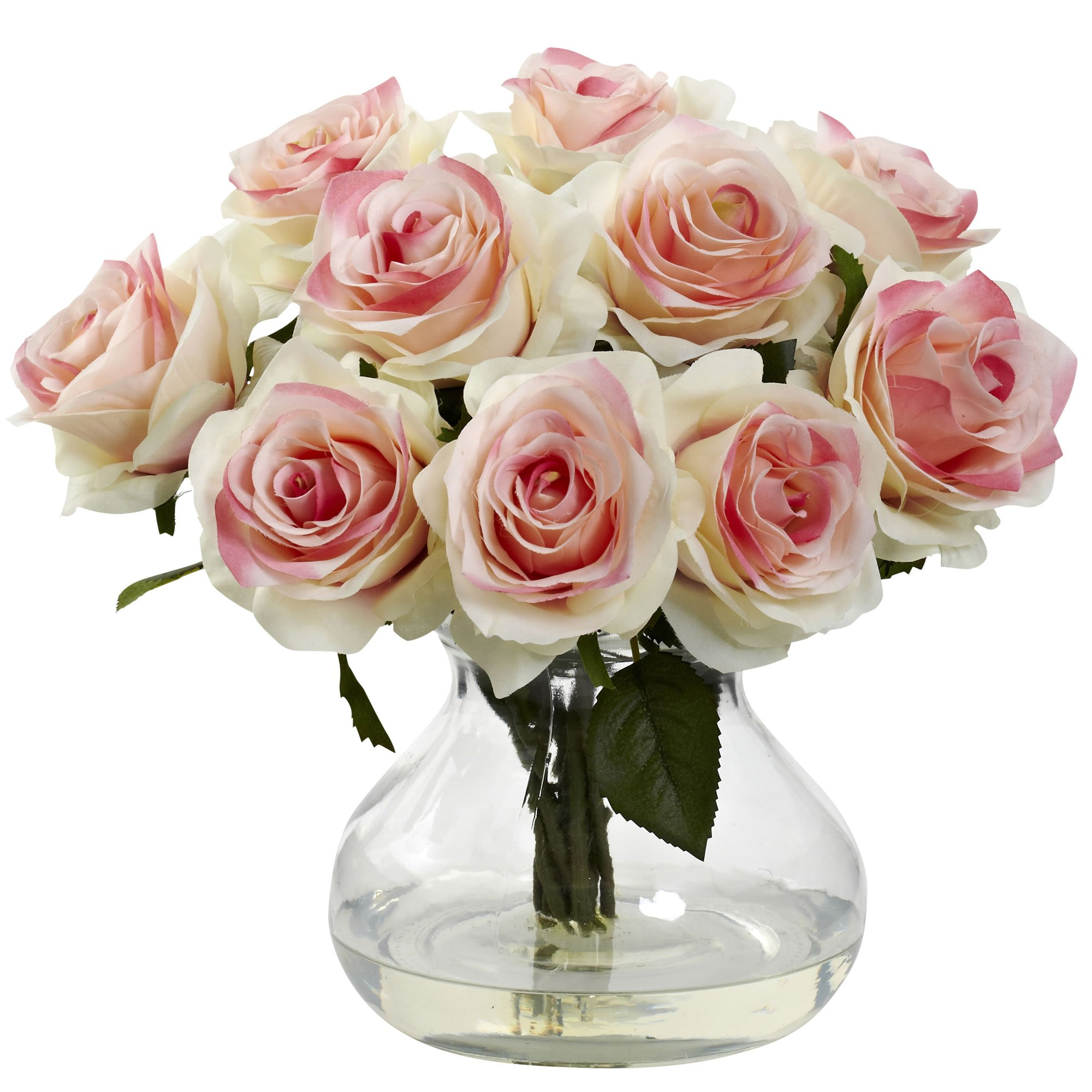 Nearly Natural 1367-LP Rose Arrangement with Vase, Light Pink by Nearly Natural